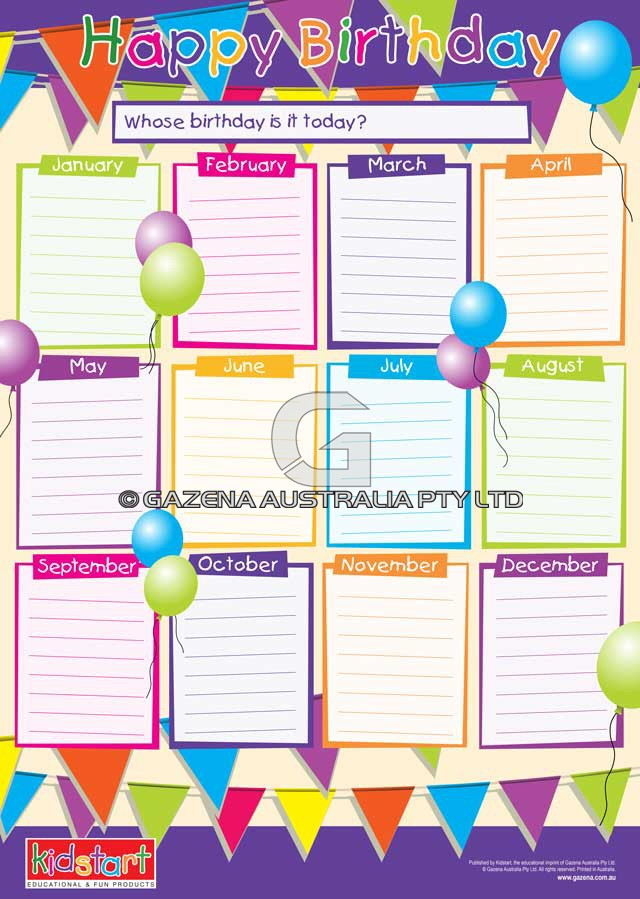 Birthday Chart | New Calendar Template Site